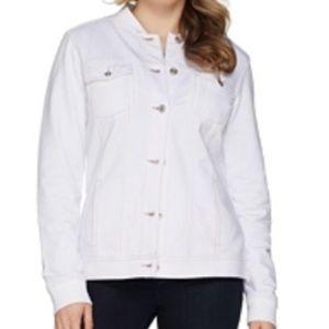 Denim&co comfy knit button front jean jacket white